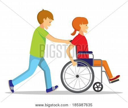 Disabled people and friend. Happy handicapped children. Disabled girl plays with boy.