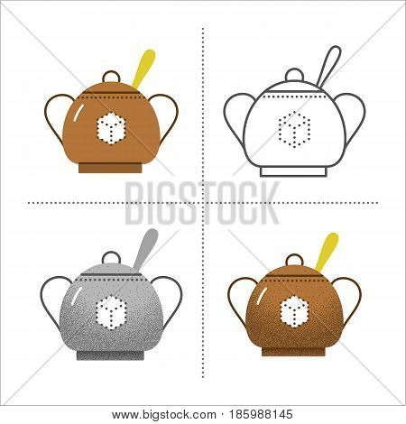 Set of bowls icons in different styles retro, flat, thin line, black and white with vintage texture. Sugar bowl with spoon. Vector illustration isolated on white background.