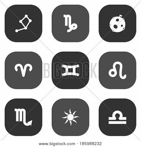 Set Of 9 Galaxy Icons Set.Collection Of Solar, Ram, Scales And Other Elements.