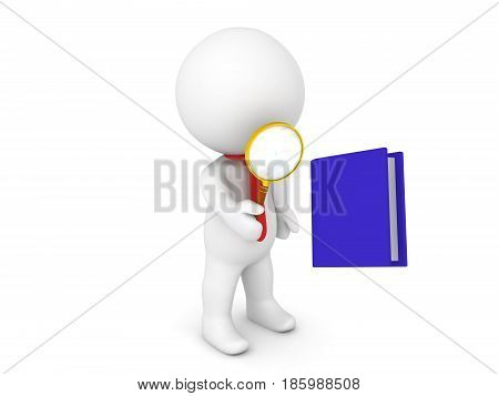 3D Character inspecting with a magnifying glass a blue book Image could depict a more deeper analysis of a book.