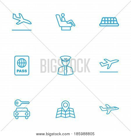 Set Of 9 Aircraft Outline Icons Set.Collection Of Sit, Flight, Pilot And Other Elements.