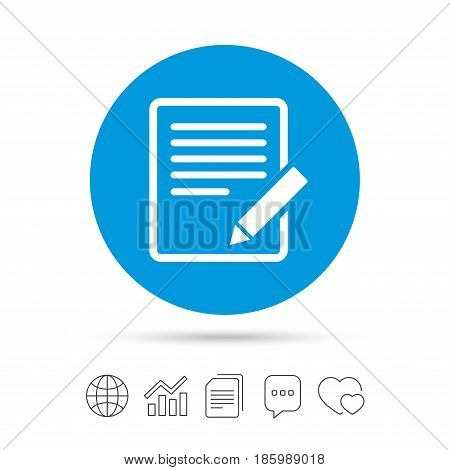 Edit document sign icon. Edit content button. Copy files, chat speech bubble and chart web icons. Vector