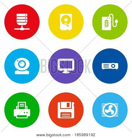Set Of 9 Laptop Icons Set.Collection Of Record, Fan, Datacenter And Other Elements.