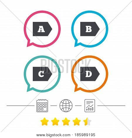 Energy efficiency class icons. Energy consumption sign symbols. Class A, B, C and D. Calendar, internet globe and report linear icons. Star vote ranking. Vector