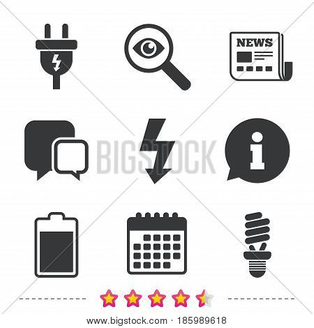 Electric plug icon. Fluorescent lamp and battery symbols. Low electricity and idea signs. Newspaper, information and calendar icons. Investigate magnifier, chat symbol. Vector