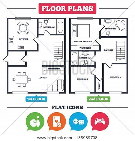 Architecture plan with furniture. House floor plan. Bowling and Casino icons. Video game joystick and playing card with dice symbols. Entertainment signs. Kitchen, lounge and bathroom. Vector