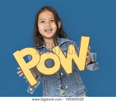 Little Girl Holding Papercraft Pow