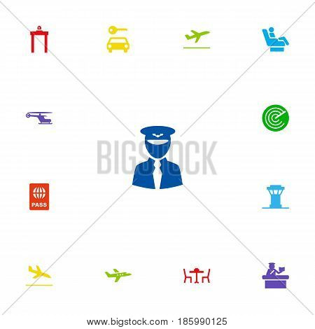 Set Of 13 Aircraft Icons Set.Collection Of Passport, Letdown, Security And Other Elements.