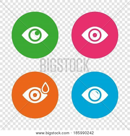 Eye icons. Water drops in the eye symbols. Red eye effect signs. Round buttons on transparent background. Vector