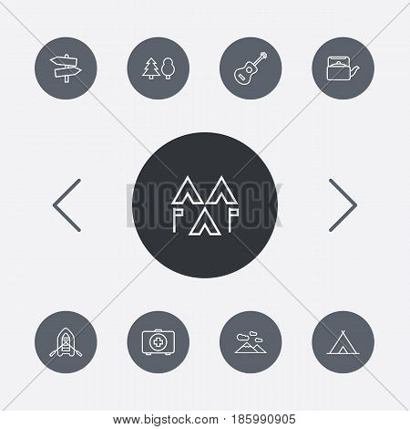Set Of 9 Adventure Outline Icons Set.Collection Of Guidepost, Medical Kit, Teapot And Other Elements.