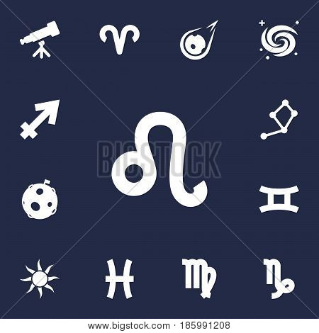 Set Of 13 Astrology Icons Set.Collection Of Solar, Goat, Twins And Other Elements.