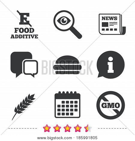 Food additive icon. Hamburger fast food sign. Gluten free and No GMO symbols. Without E acid stabilizers. Newspaper, information and calendar icons. Investigate magnifier, chat symbol. Vector