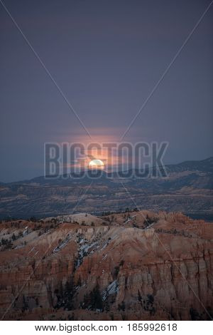 Moon Rising Over Bryce Canyon