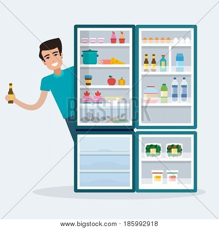Man with fridge. Open refrigerator with food. Flat style vector illustration.
