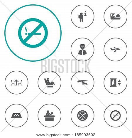 Set Of 12 Aircraft Icons Set.Collection Of Aircraft, Forbidden, Restaurant And Other Elements.