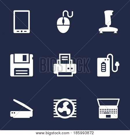 Set Of 9 Notebook Icons Set.Collection Of Control Device, Joystick, Diskette And Other Elements.