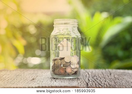 Money and house in gless Saving money concept concept of financial savings to buy a housetrees growing in a sequence of germination on piles of coins Growth business money.