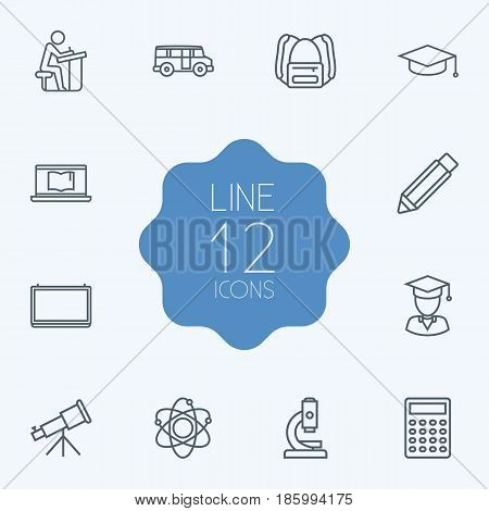 Set Of 12 Studies Outline Icons Set.Collection Of Pupil, Backpack, Bus And Other Elements.