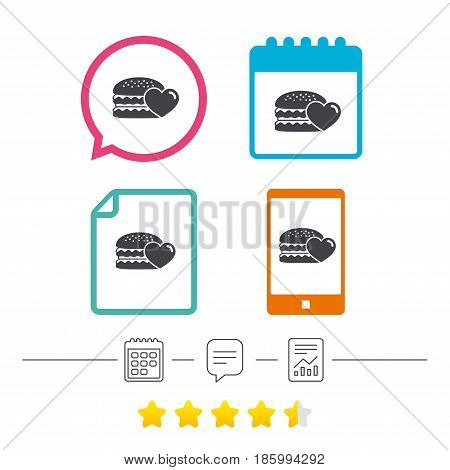 Hamburger icon. Burger food symbol. Cheeseburger sandwich sign. Calendar, chat speech bubble and report linear icons. Star vote ranking. Vector