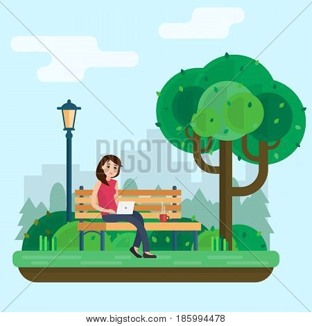 Young woman works in park with computer on bench under tree. Freelance lifestyle. Flat style vector illustration.