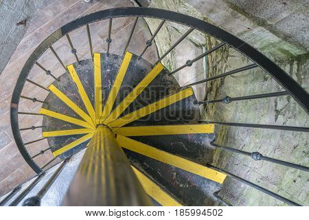 Spiral metal staircase inside the OBriens tower on Irish Cliffs of Moher, Ireland