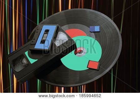 Change of technology from gramophone discs to SD cards. Background symbol of sound wave music
