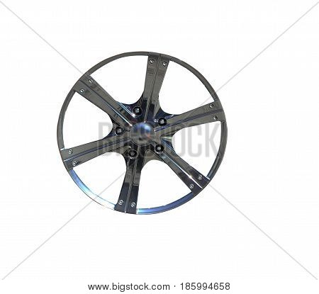 Isolated on white background, part of a car wheel disc