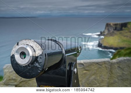 Viewing telescope on the Cliffs of Moher, Ireland
