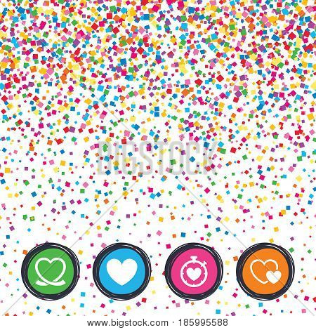 Web buttons on background of confetti. Heart ribbon icon. Timer stopwatch symbol. Love and Heartbeat palpitation signs. Bright stylish design. Vector