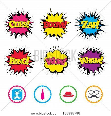 Comic Wow, Oops, Boom and Wham sound effects. Hipster photo camera with mustache icon. Glasses and tie symbols. Classic hat headdress sign. Zap speech bubbles in pop art. Vector