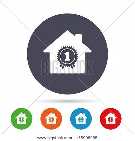 Best home. First place award icon. Prize for winner symbol. Round colourful buttons with flat icons. Vector