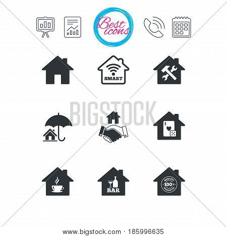 Presentation, report and calendar signs. Real estate icons. House insurance, broker and casino with bar signs. Handshake deal, coffee and smart house symbols. Classic simple flat web icons. Vector