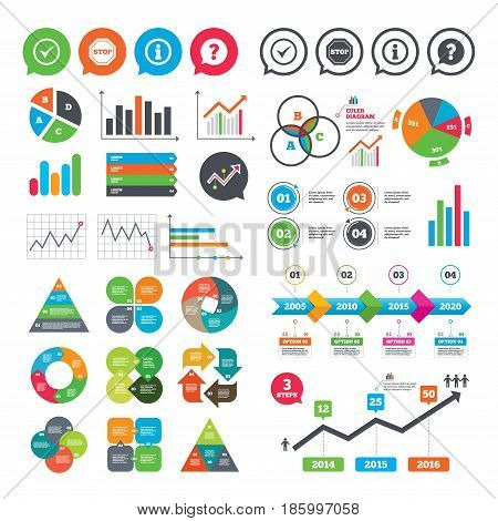 Business charts. Growth graph. Information icons. Stop prohibition and question FAQ mark speech bubble signs. Approved check mark symbol. Market report presentation. Vector