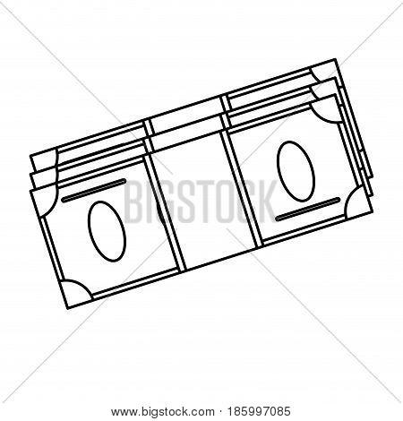 cash money bills icon image vector illustration design single black line