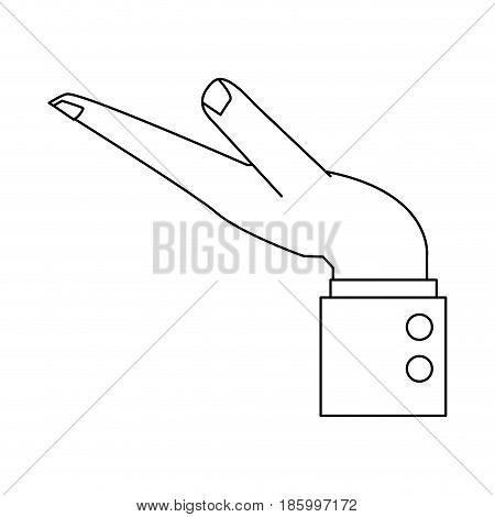 open giving or receiving hand icon image vector illustration design single black line