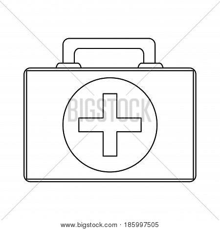 first aid kit healthcare icon image vector illustration design single black line
