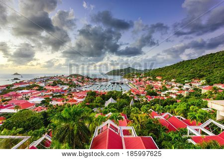 Saint Barthelemy skyline and harbor in the Caribbean.