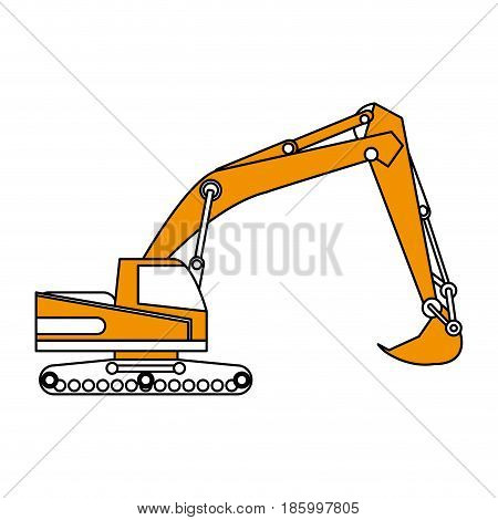 excavator or backhoe construction heavy machinery icon image vector illustration design partially colored