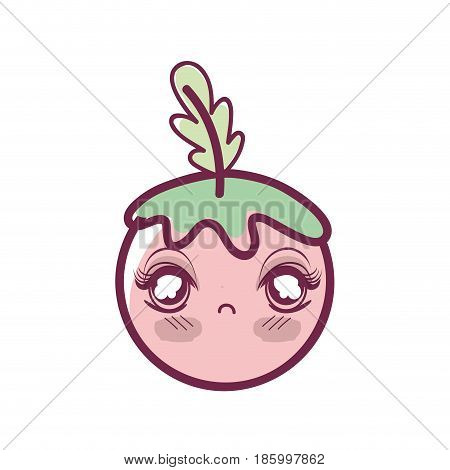 kawaii shy tomato vegetable icon, vector illustration dsign