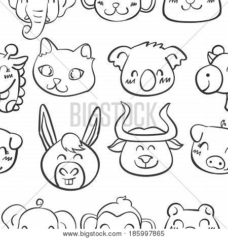 Collection stock of head animal doodles vector illustration