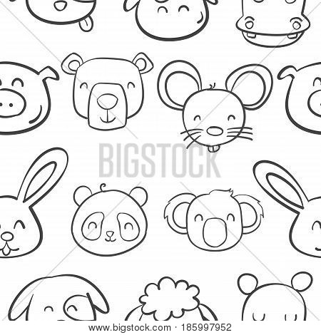 Collection stock of animal head cute style vector illustration