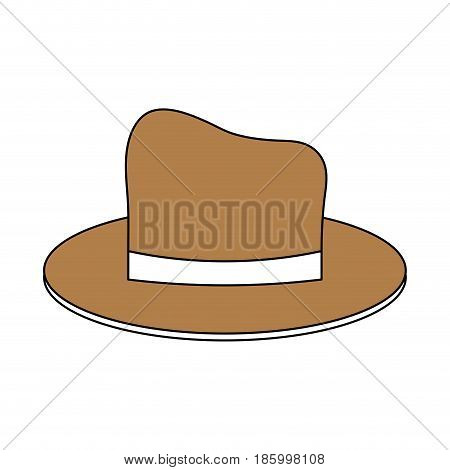classic casual hat icon image vector illustration design partially colored