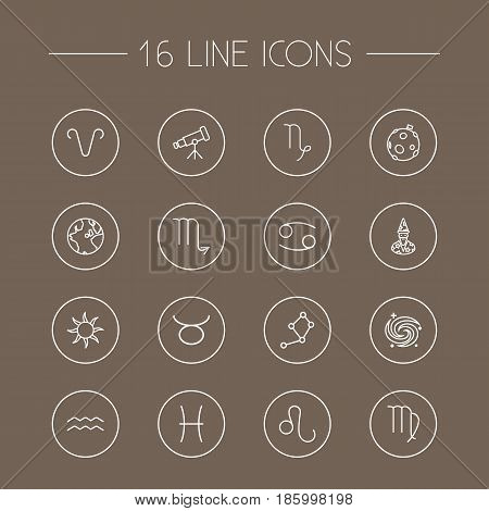 Set Of 16 Galaxy Outline Icons Set.Collection Of Constellation, Moon, Aqurius And Other Elements.