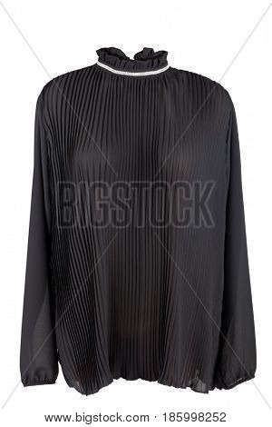 Black pleated blouse, isolated on white background