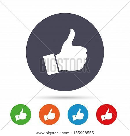 Like sign icon. Thumb up sign. Hand finger up symbol. Round colourful buttons with flat icons. Vector