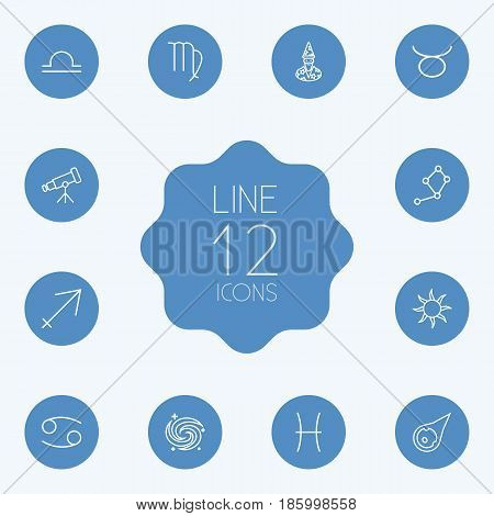 Set Of 12 Galaxy Outline Icons Set.Collection Of Cancer, Constellation, Astrologer And Other Elements.