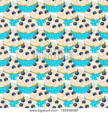 Cupcake with fresh blueberry in turquoise holder seamless pattern. Sweet dessert for wrapper or textile.