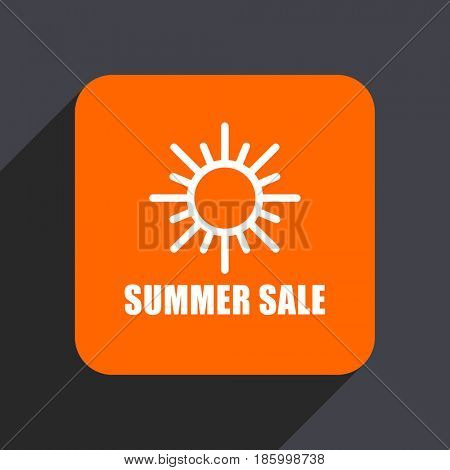 Summer sale orange flat design web icon isolated on gray background