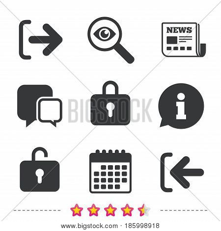 Login and Logout icons. Sign in or Sign out symbols. Lock icon. Newspaper, information and calendar icons. Investigate magnifier, chat symbol. Vector