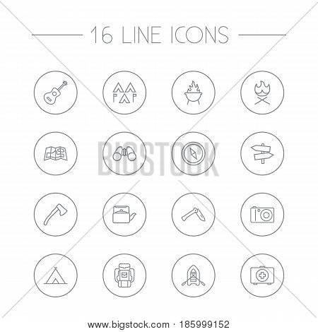 Set Of 16 Picnic Outline Icons Set.Collection Of Guidepost, Compass, Rubber Boat And Other Elements.